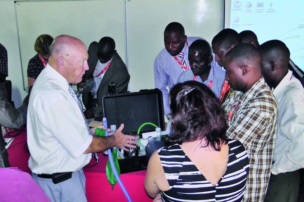 Dr Eltringham demonstrates a portable anaesthesia machine on a training course in Mozambique