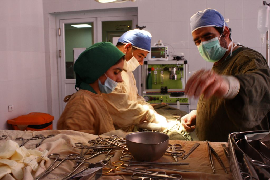 Photo: The Glostavent in use to enable surgery in Afghanistan