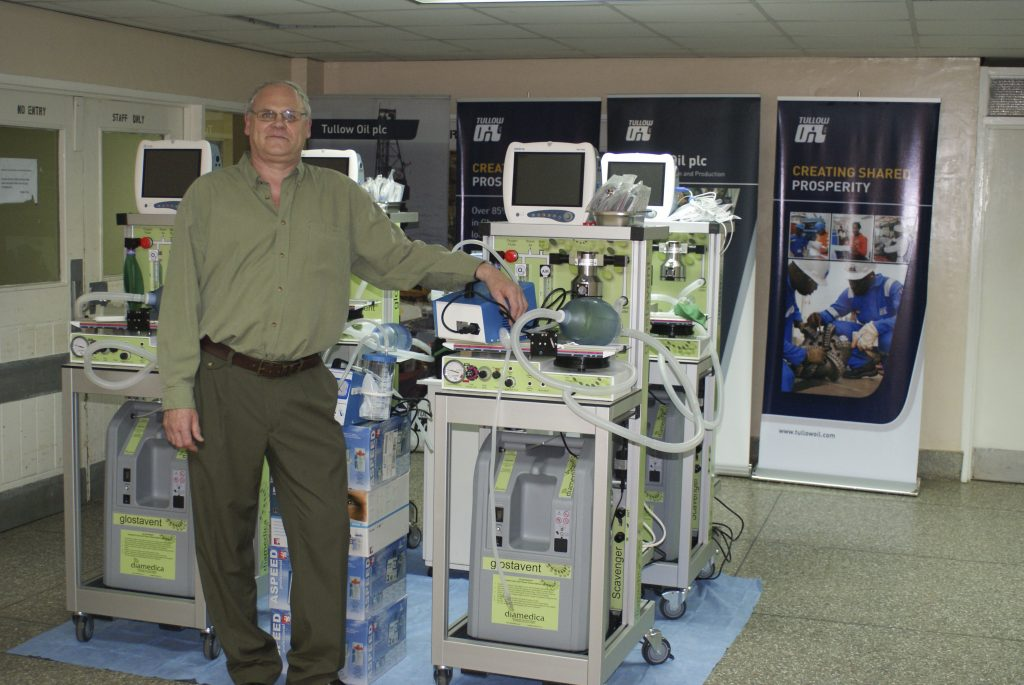 Photo: Managing Director Robert Neighbour installing new Glostavent anaesthesia machines in Ghana.