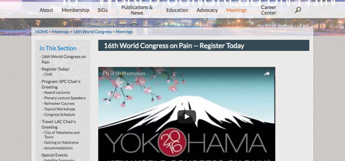 26–30 September 2016, 16th World Congress on Pain; Japan