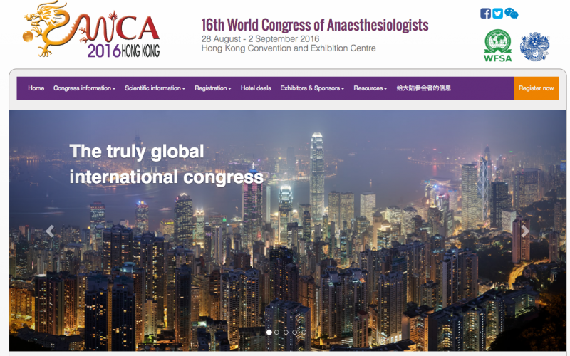 WCA 2016: the unforgettable World Congress of Anaesthesiologists