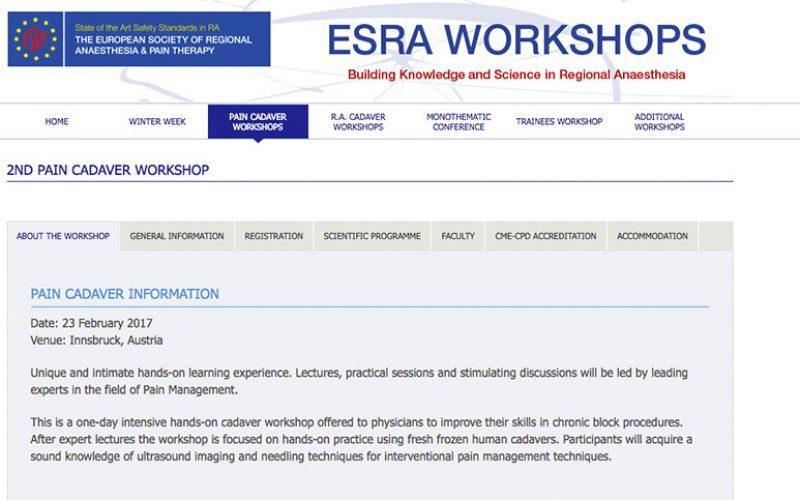 23 February 2017 – ESRA workshops, Pain Cadaver Information; Austria