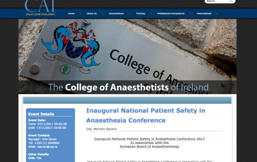 17 November 2017, Inaugural National Patient Safety in Anaesthesia Conference; Ireland