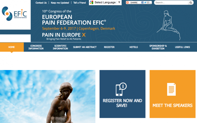 6–9 September 2017; The European Pain Federation; Copenhagen