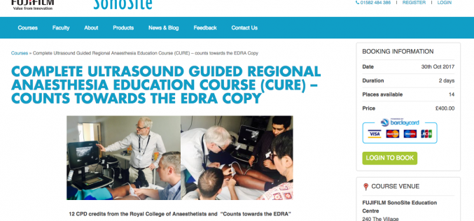 30–31 October 2017, Complete ultrasound guided regional anaesthesia education course; Luton