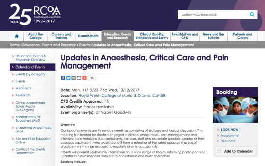 11-13 December 2017 – Updates in Anaesthesia, Critical Care and Pain Management; Cardiff