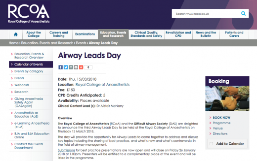 15 March 2018, Airway Leads Day; London