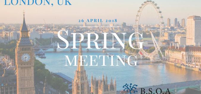 26th April 2018, BSOA Spring Meeting; London
