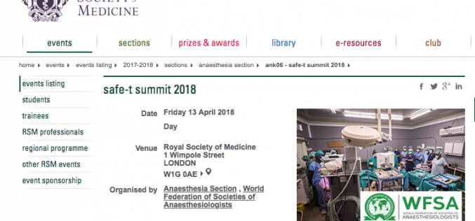 13 April 2018, SAFE–T summit 2018; London