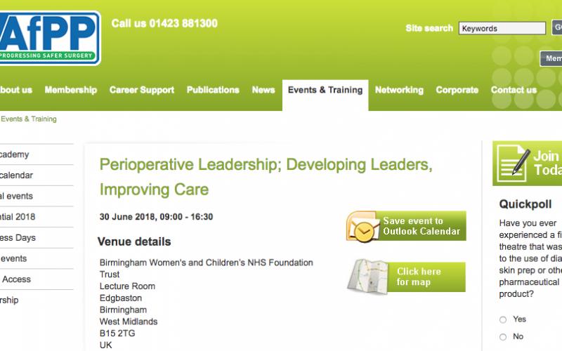 30 June 2018, Perioperative Leadership; Developing Leaders, Improving Care; Birmingham