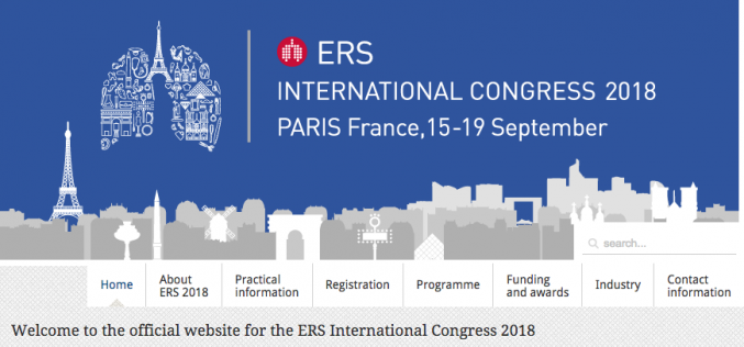15-19 September 2018, European Respiratory Society International Congress; Paris