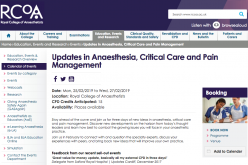 25-27 February 2019, Updates in Anaesthesia, Critical Care and Pain Management; London
