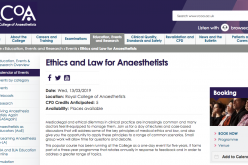 13 March 2019, Ethics and Law for Anaesthetists; London