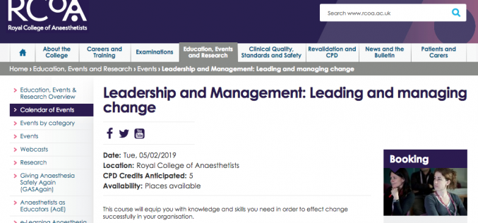 5 February 2019, Leadership and Management: Leading and managing change; London