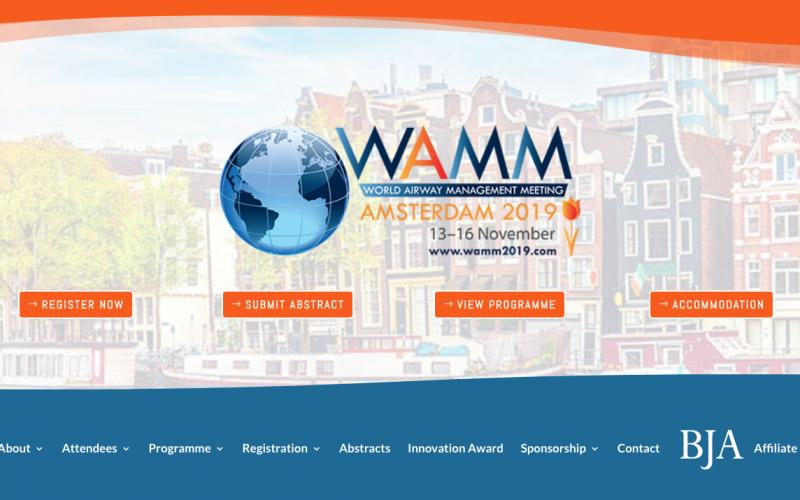 13-16 November 2019, World Airway Management Meeting; Amsterdam