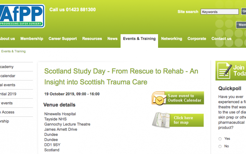 19 October 2019, Scotland Study Day – From Rescue to Rehab – An Insight into Scottish Trauma Care; Dundee