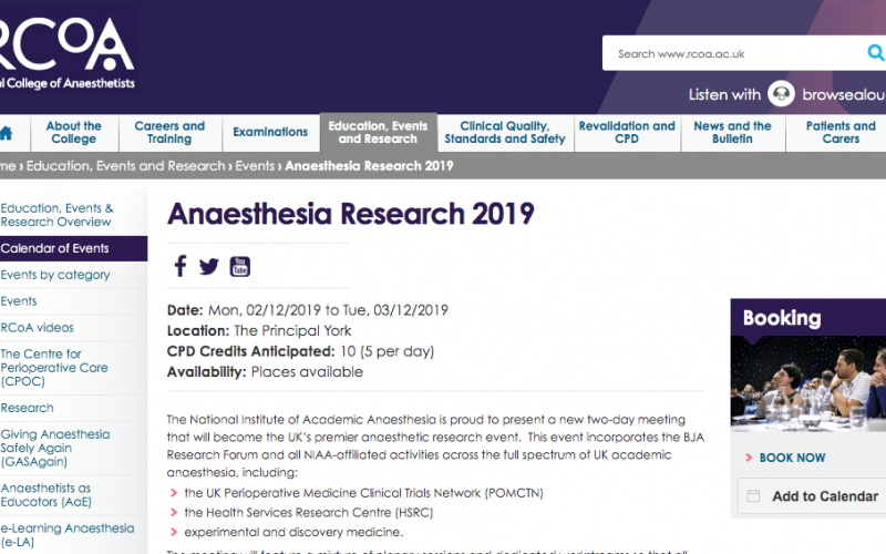 2-3 December 2019, Anaesthesia Research 2019; York