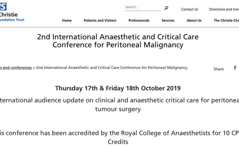 17-18 October 2019, 2nd International Anaesthetic and Critical Care Conference for Peritoneal Malignancy; Manchester