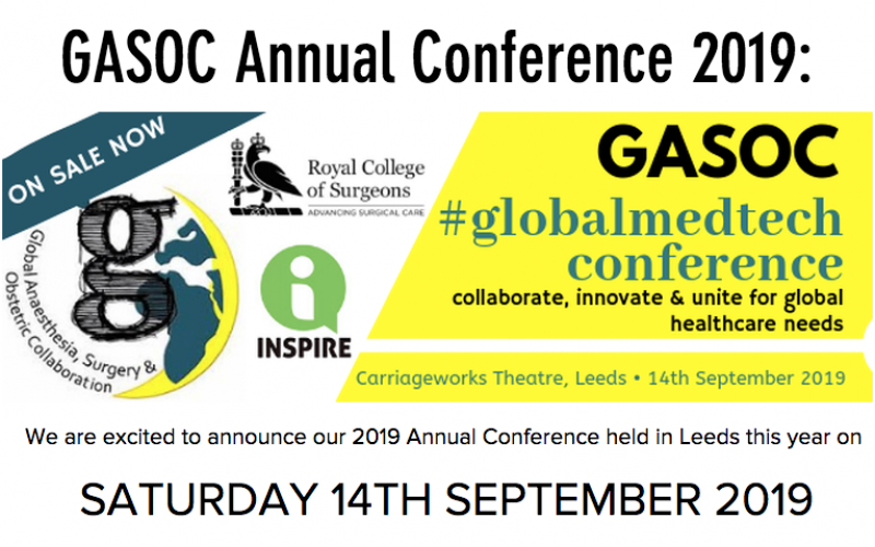 14 September 2019, Global Anaesthesia, Surgery and Obstetric Collaboration Annual Conference; Leeds