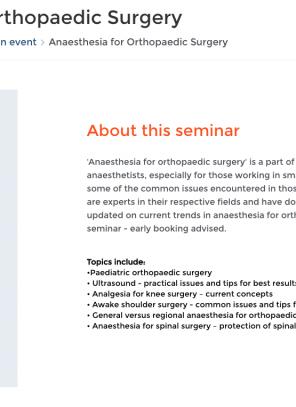 5 February 2020, Anaesthesia for Orthopaedic Surgery; London