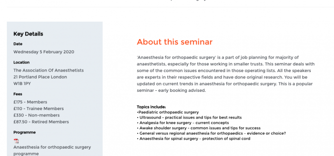 5 February 2020, Anaesthesia for Orthopaedic Surgery; London