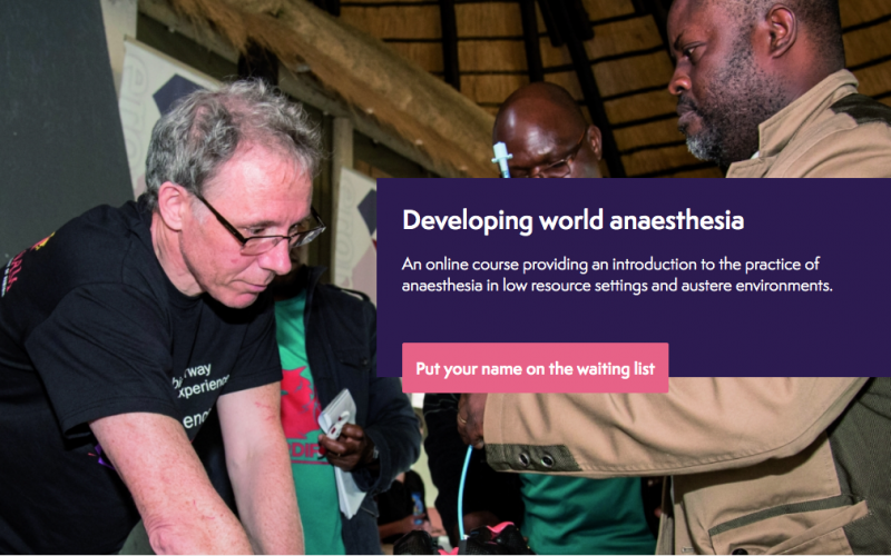 26 November 2020, Developing world anaesthesia; Online course