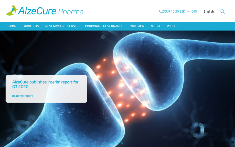 AlzeCure presents positive preclinical efficacy data for the TrkA-NAM pain project